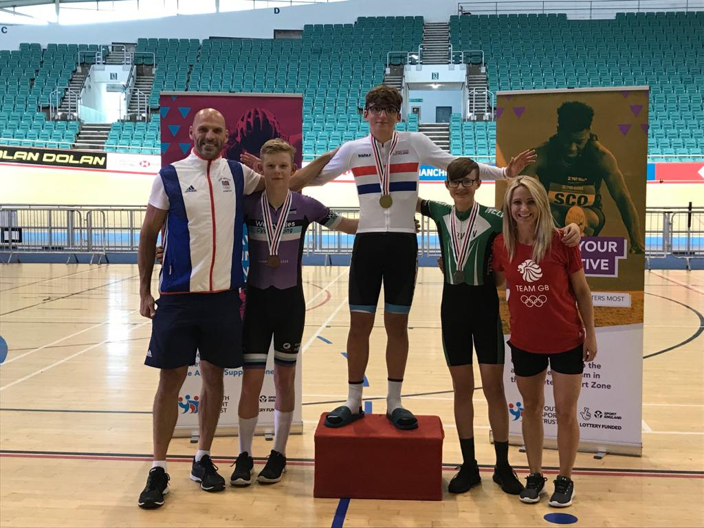 Calum with winner, Jed Smithson and Finlay Tarling on the podium